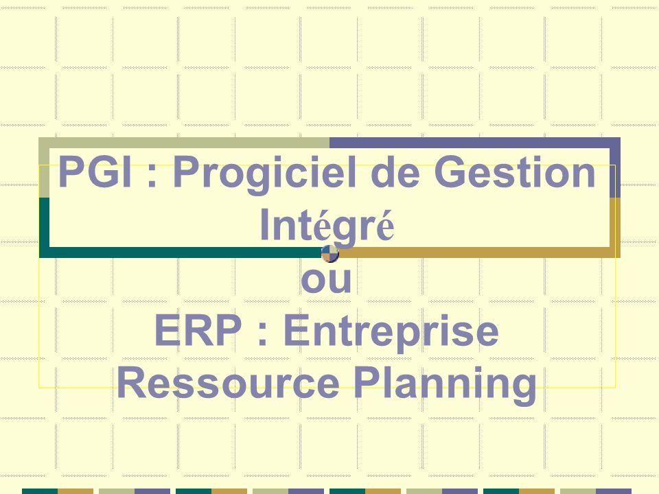 PGI : Progiciel de Gestion Intégré ou ERP : Entreprise Ressource Planning