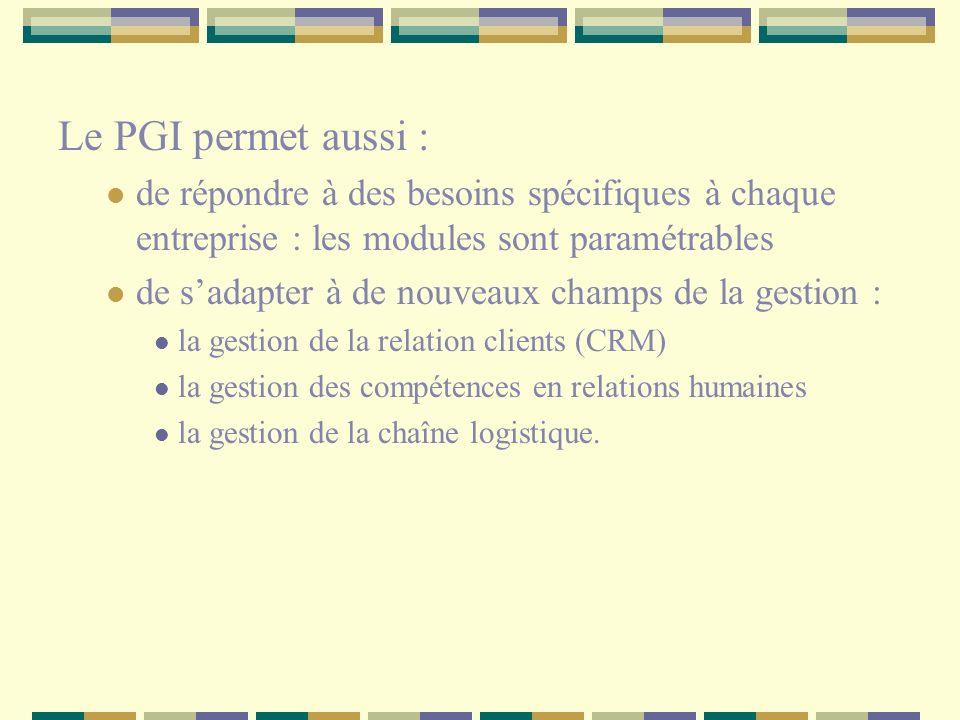 Le PGI permet aussi : de répondre à des besoins spécifiques à chaque entreprise : les modules sont paramétrables.