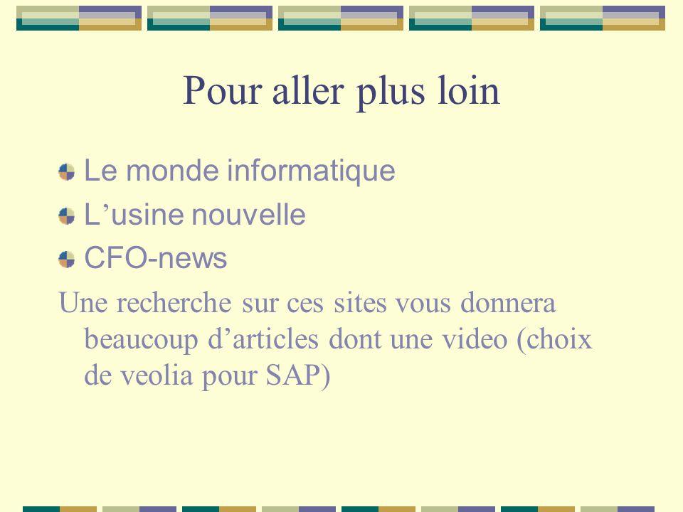Pour aller plus loin Le monde informatique L'usine nouvelle CFO-news