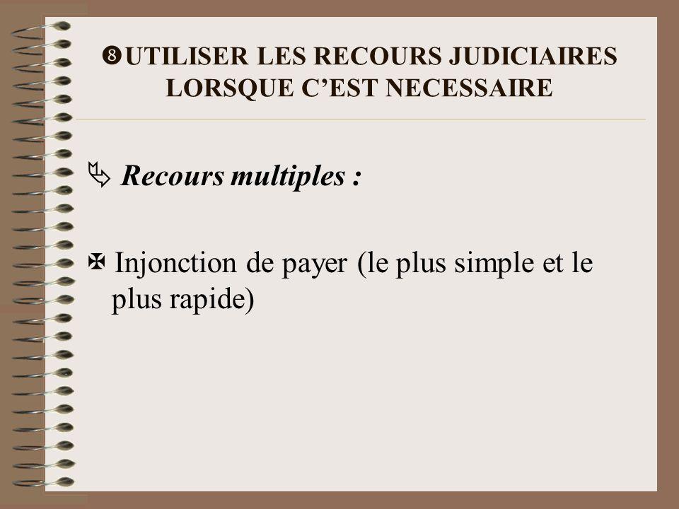 UTILISER LES RECOURS JUDICIAIRES LORSQUE C'EST NECESSAIRE