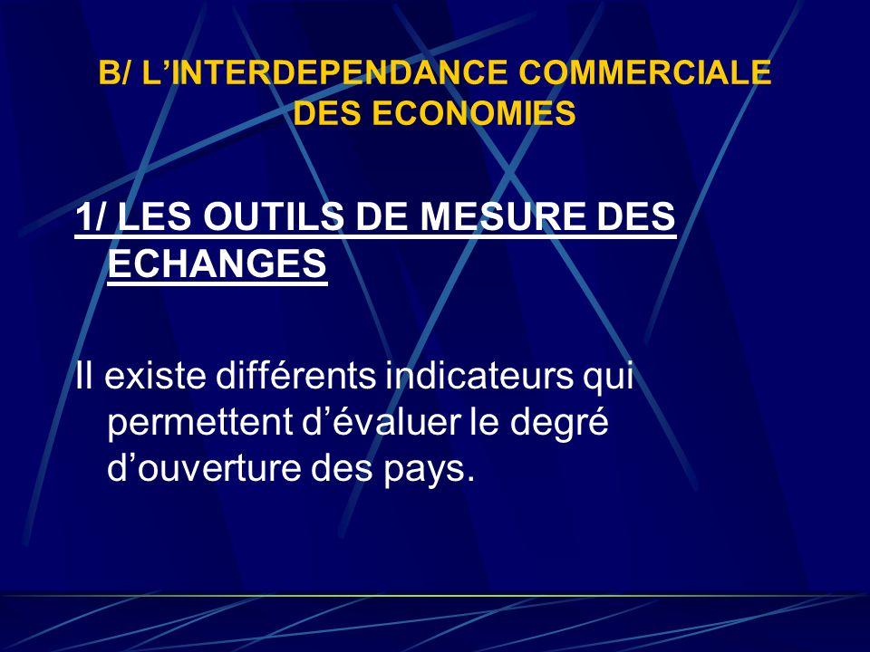 B/ L'INTERDEPENDANCE COMMERCIALE DES ECONOMIES
