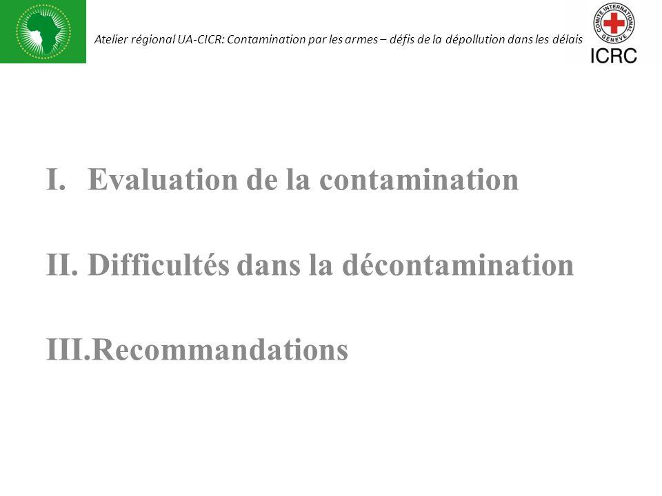 Evaluation de la contamination Difficultés dans la décontamination