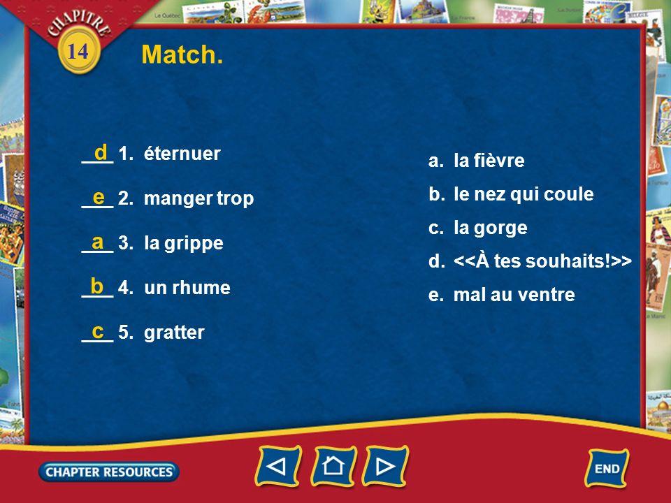 Match. d e a b c ___ 1. éternuer la fièvre ___ 2. manger trop