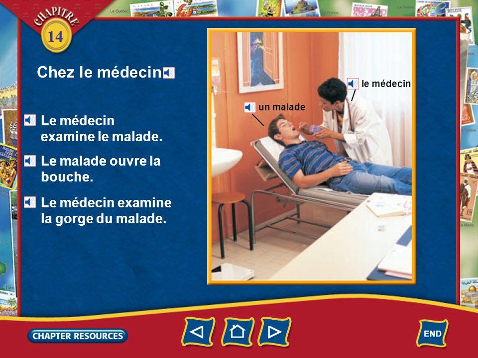 Chez le médecin Le médecin examine le malade.