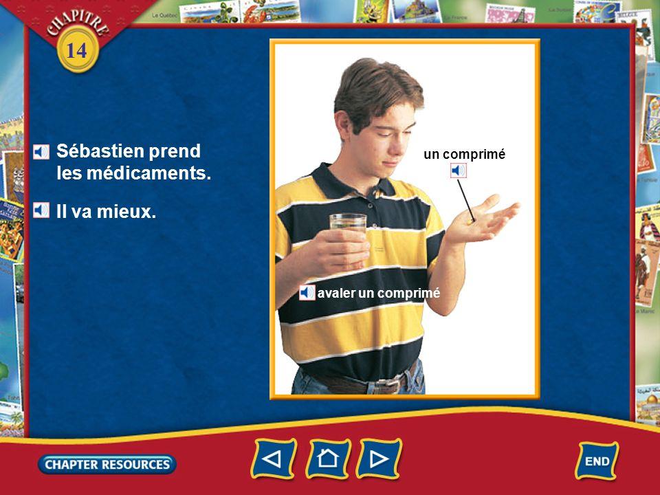 Sébastien prend les médicaments.