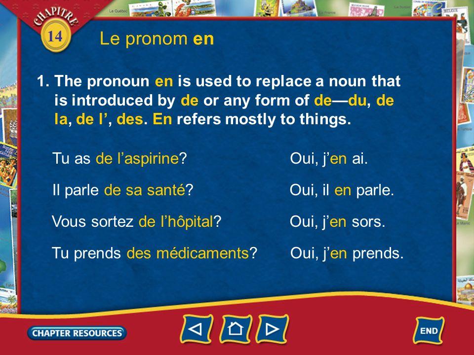 Le pronom enThe pronoun en is used to replace a noun that is introduced by de or any form of de—du, de la, de l', des. En refers mostly to things.