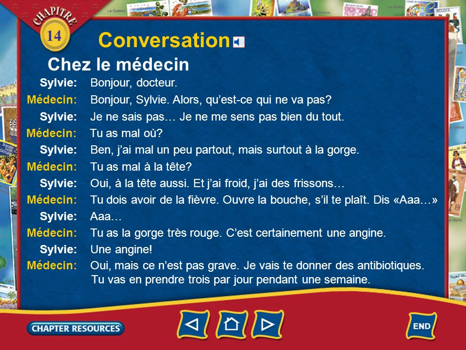 Conversation Chez le médecin Sylvie: Bonjour, docteur.