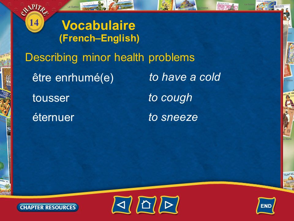 Vocabulaire Describing minor health problems être enrhumé(e)