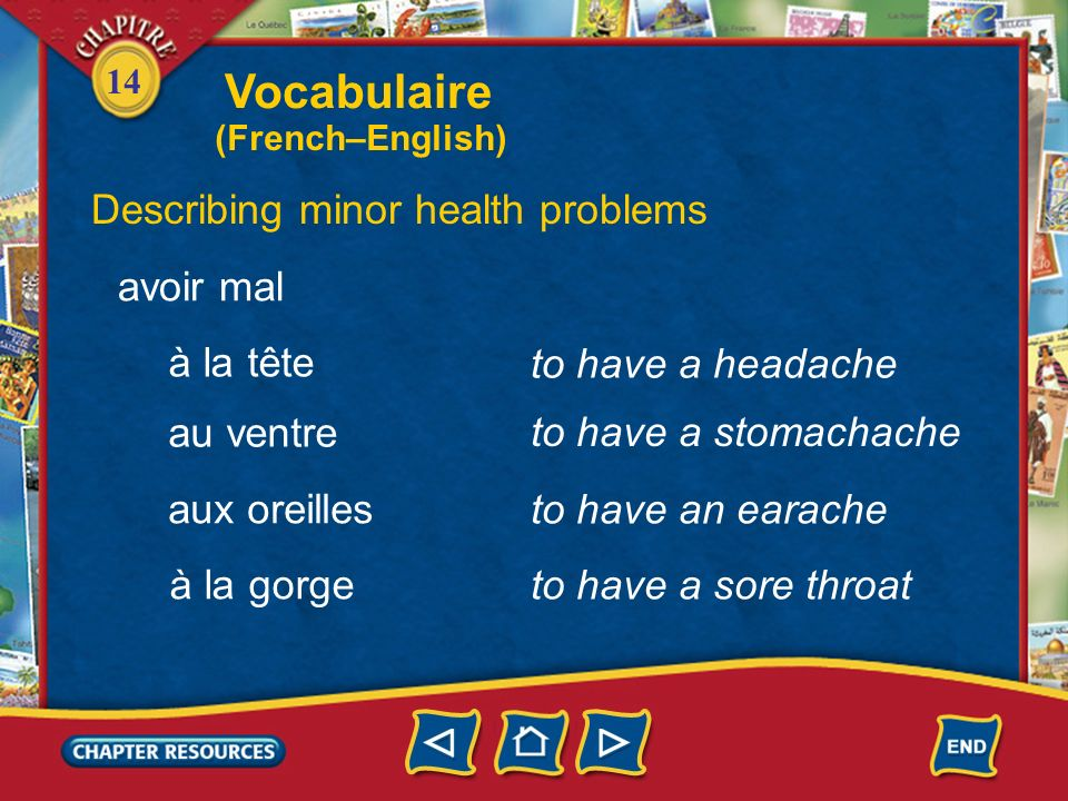 Vocabulaire Describing minor health problems avoir mal à la tête