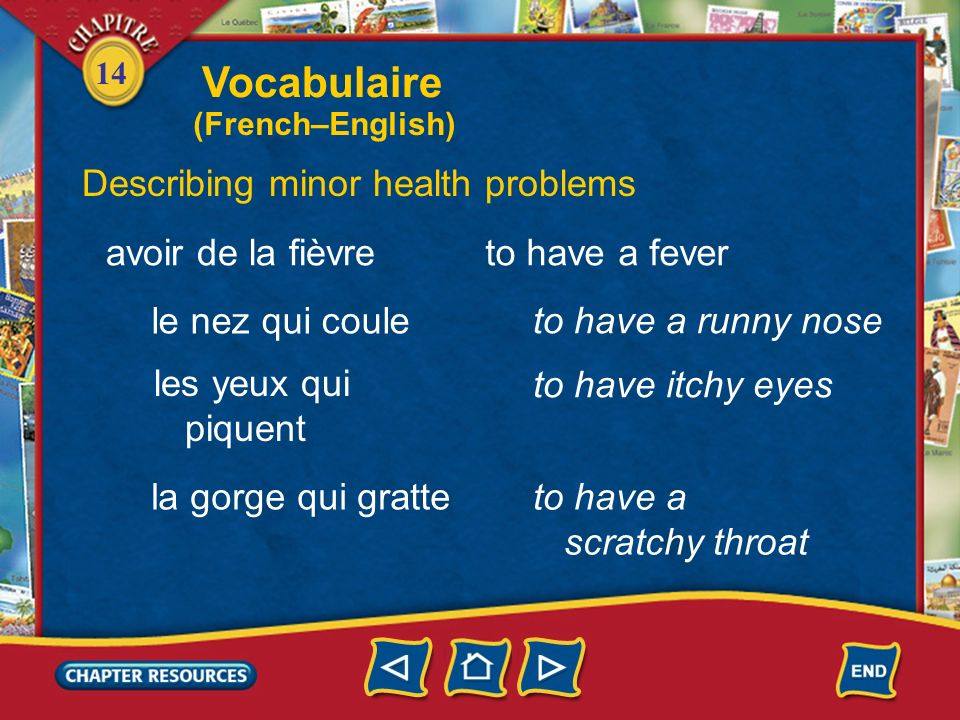 Vocabulaire Describing minor health problems avoir de la fièvre