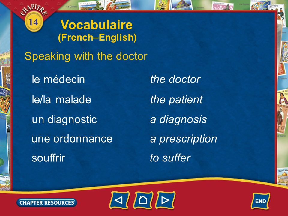 Vocabulaire Speaking with the doctor le médecin the doctor