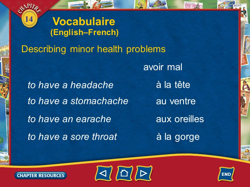 Vocabulaire Describing minor health problems avoir mal