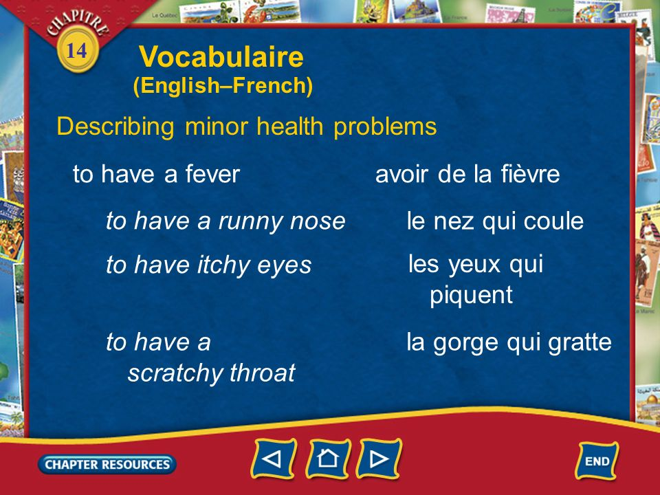 Vocabulaire Describing minor health problems to have a fever