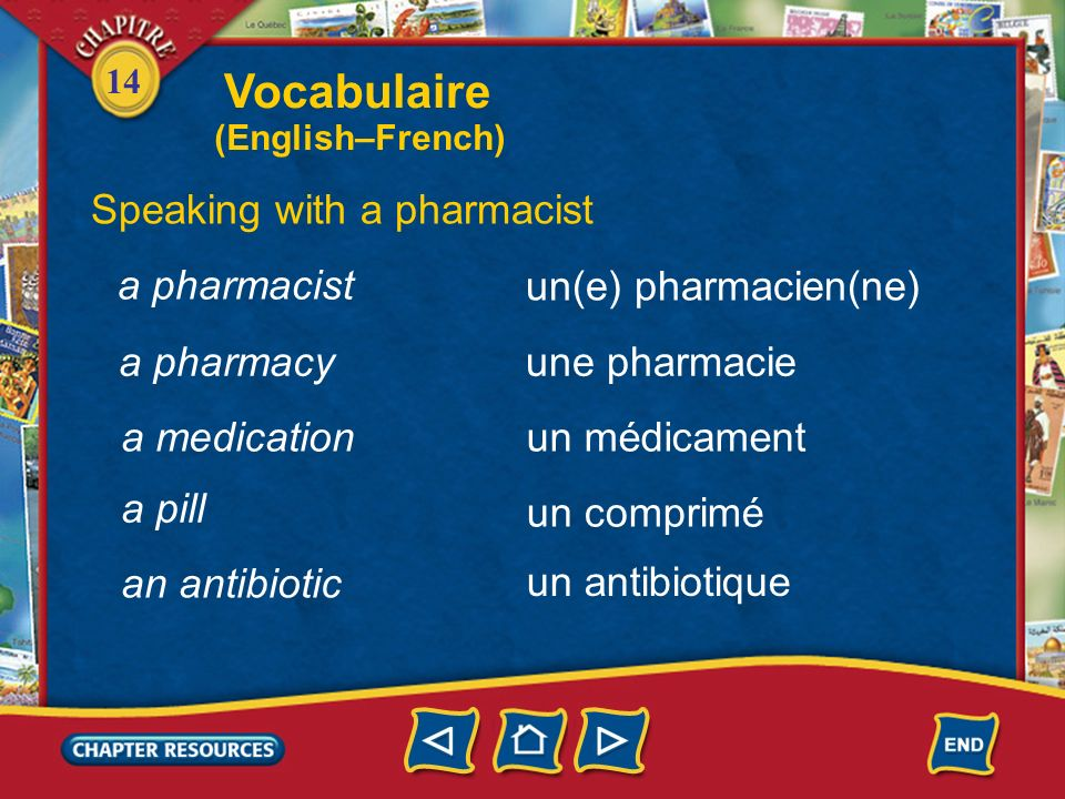 Vocabulaire Speaking with a pharmacist a pharmacist