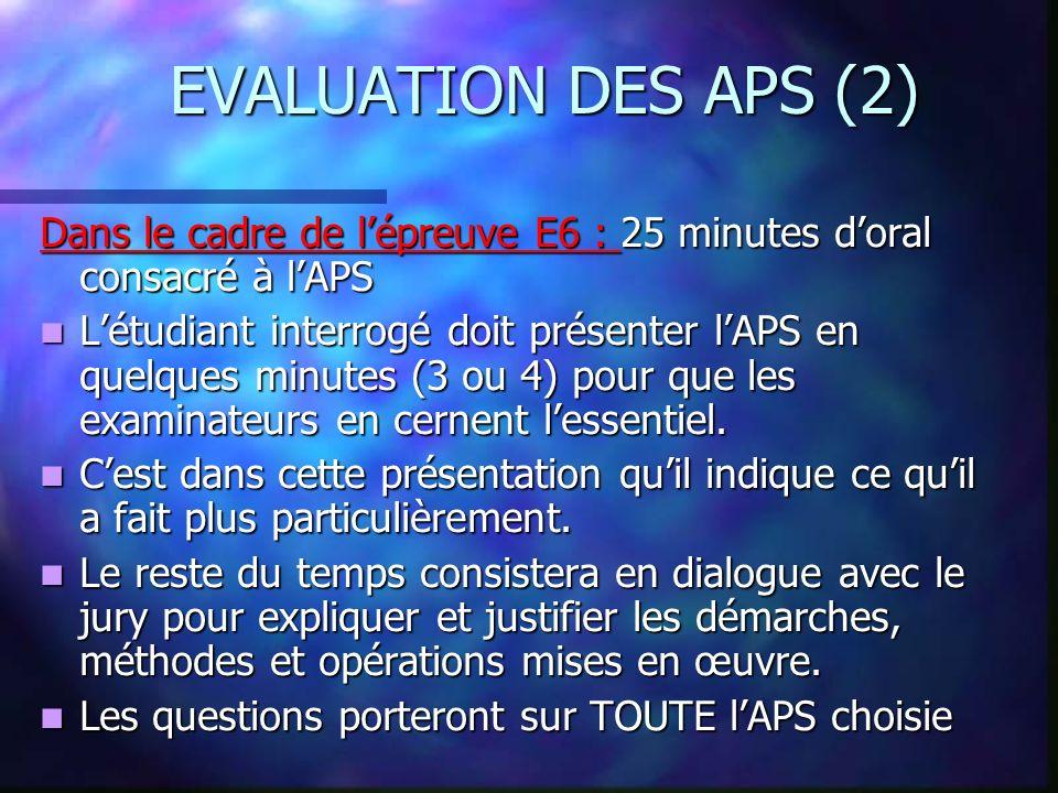 EVALUATION DES APS (2) Dans le cadre de l'épreuve E6 : 25 minutes d'oral consacré à l'APS.
