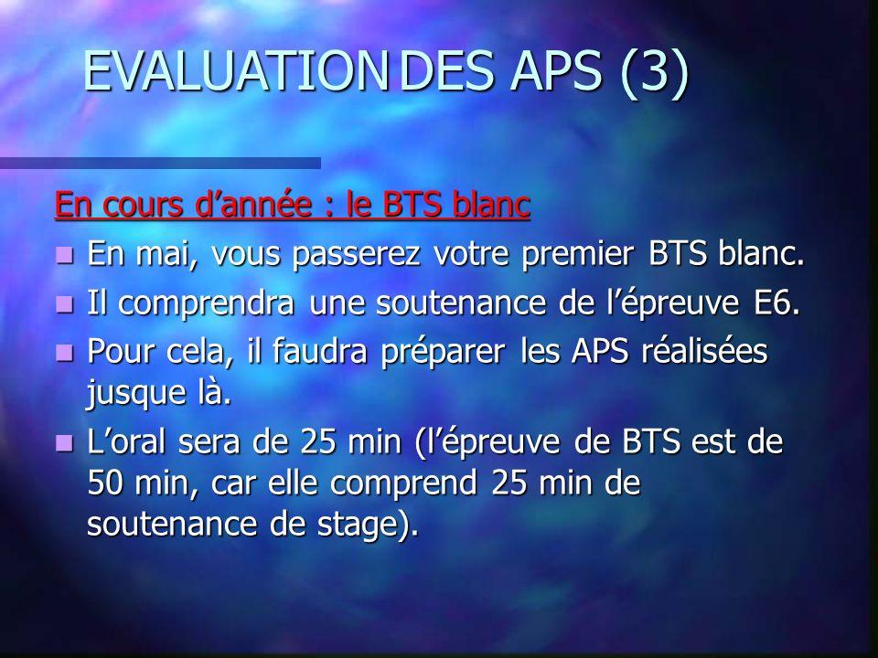 EVALUATION DES APS (3) En cours d'année : le BTS blanc