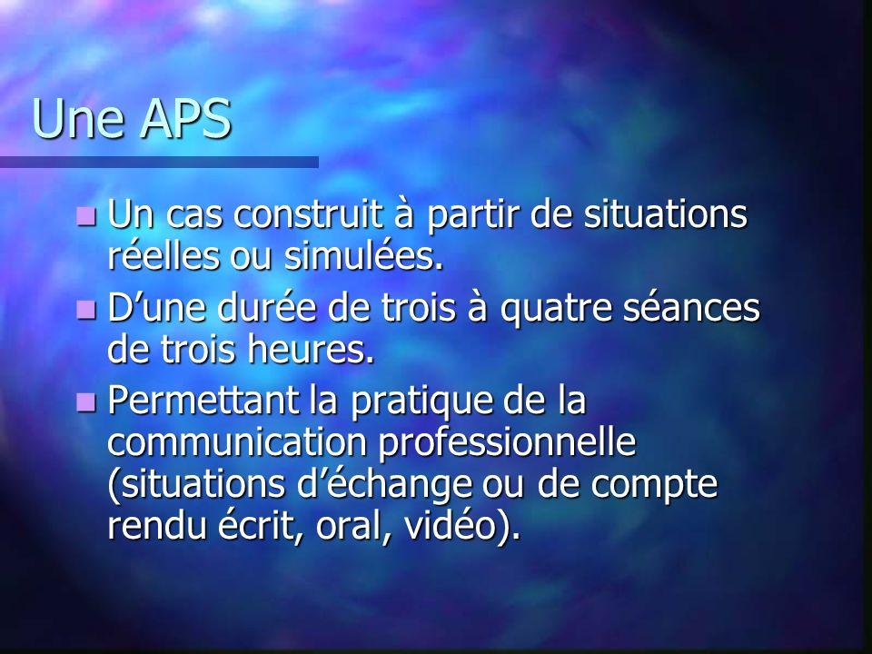 Une APS Un cas construit à partir de situations réelles ou simulées.
