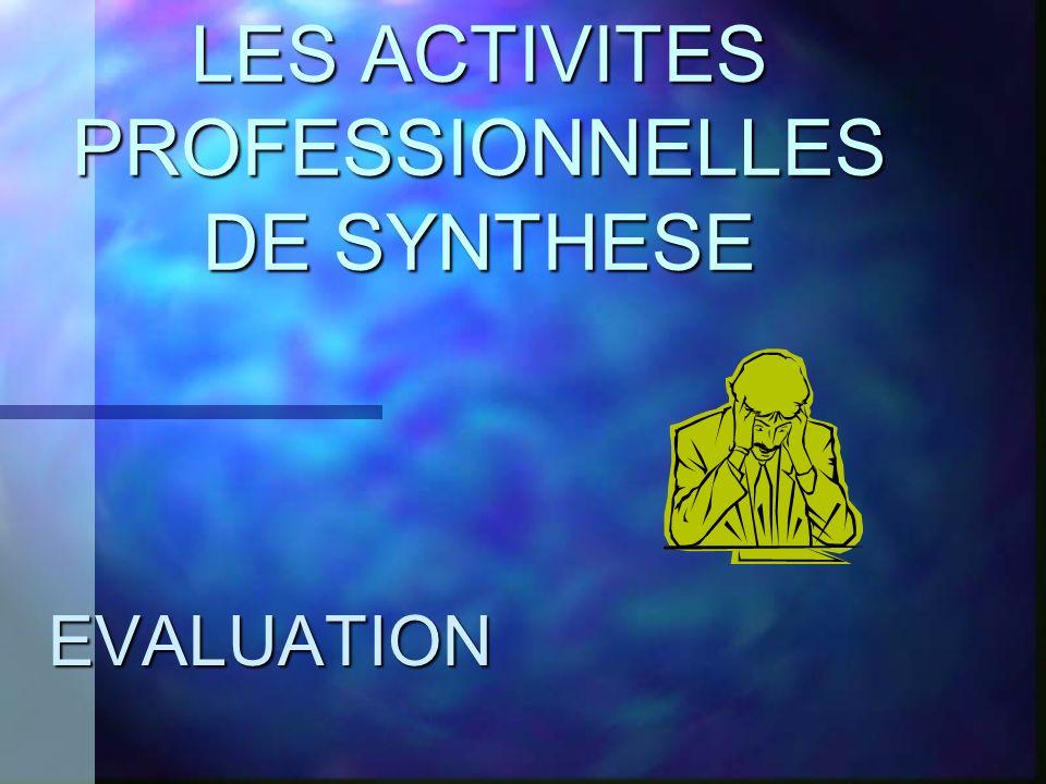 LES ACTIVITES PROFESSIONNELLES DE SYNTHESE