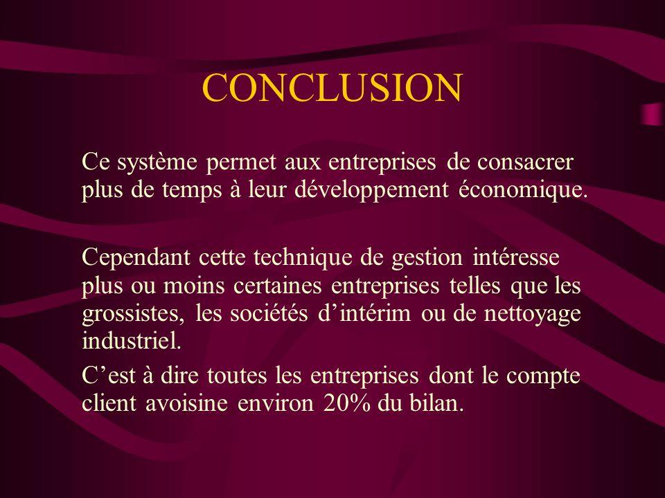 CONCLUSIONCe système permet aux entreprises de consacrer plus de temps à leur développement économique.