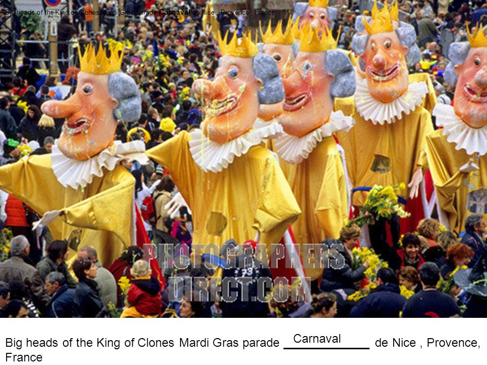Big heads of the King of Clones Mardi Gras parade Carnaval de Nice , Provence , France