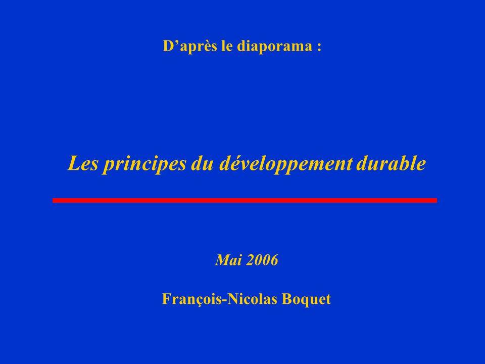 Les principes du développement durable François-Nicolas Boquet