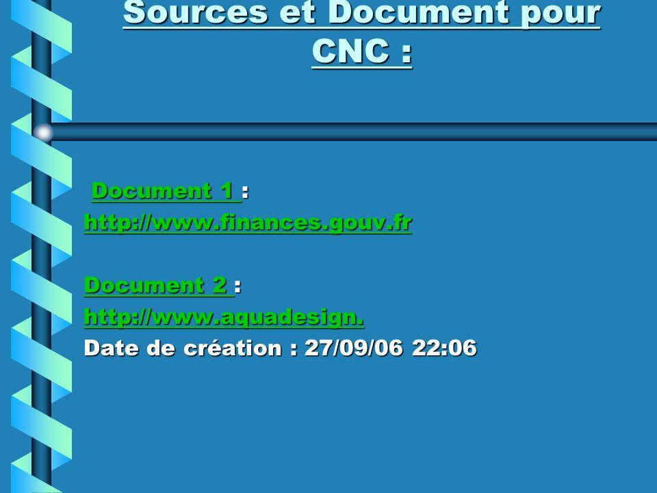 Sources et Document pour CNC :