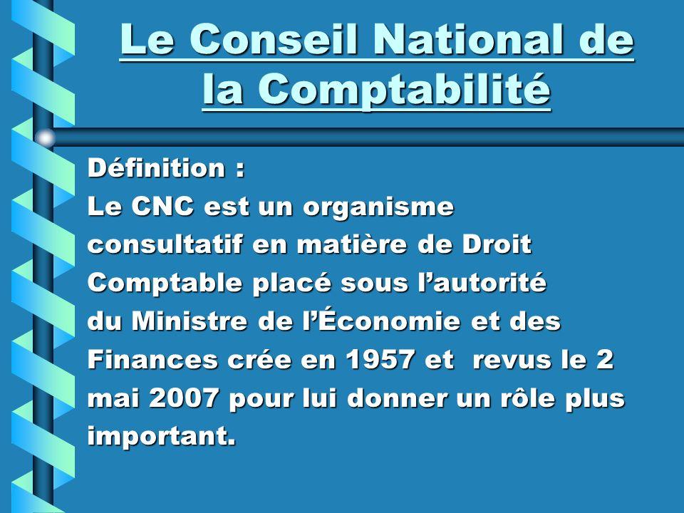 Le Conseil National de la Comptabilité