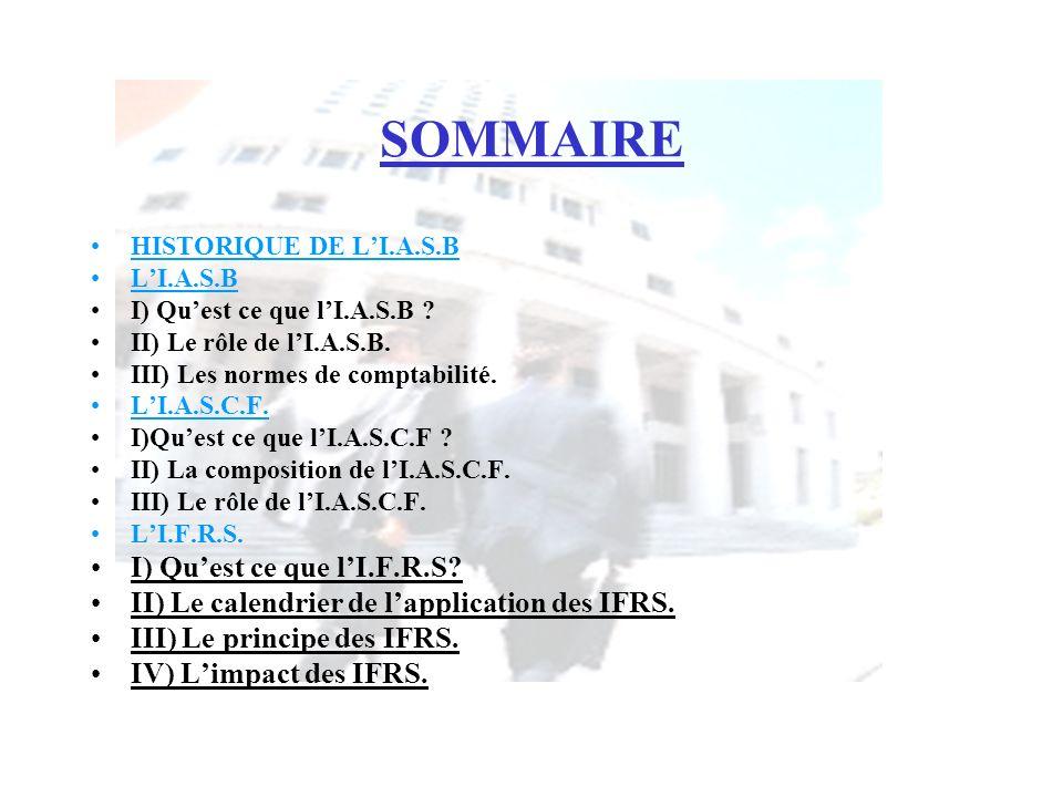 SOMMAIRE I) Qu'est ce que l'I.F.R.S