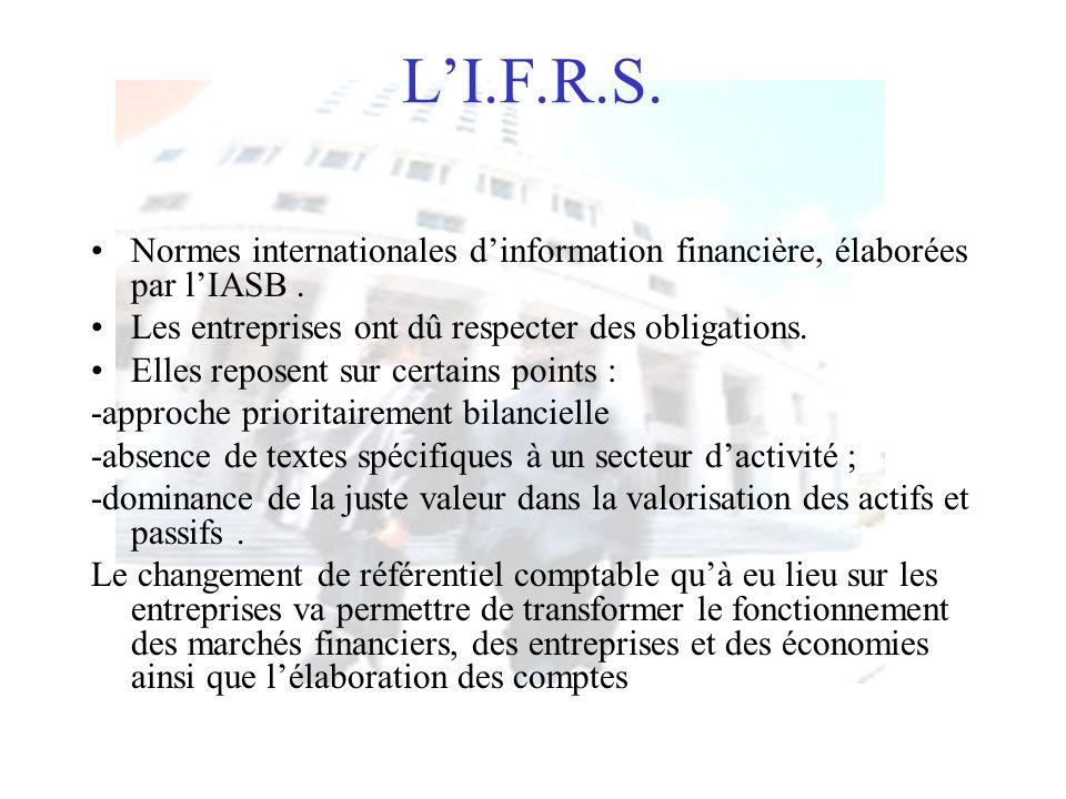 L'I.F.R.S. Normes internationales d'information financière, élaborées par l'IASB . Les entreprises ont dû respecter des obligations.