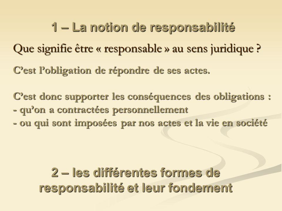 1 – La notion de responsabilité
