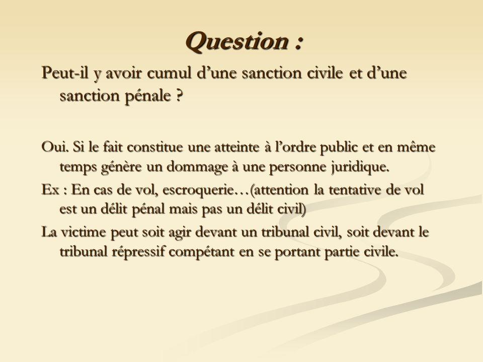 Question : Peut-il y avoir cumul d'une sanction civile et d'une sanction pénale