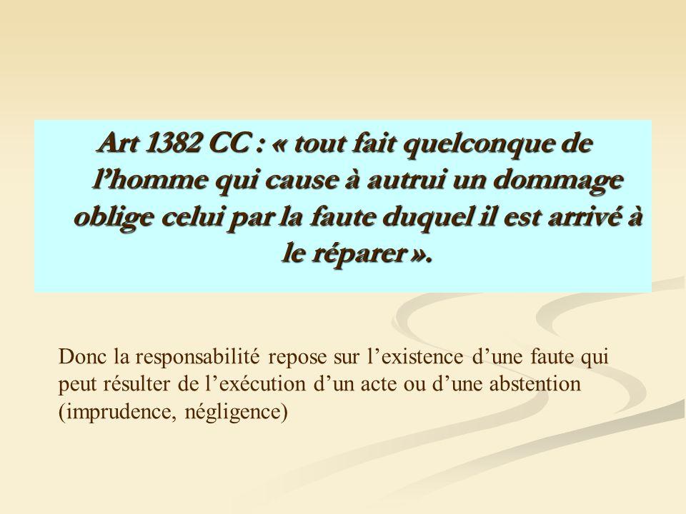 Art 1382 CC : « tout fait quelconque de l'homme qui cause à autrui un dommage oblige celui par la faute duquel il est arrivé à le réparer ».