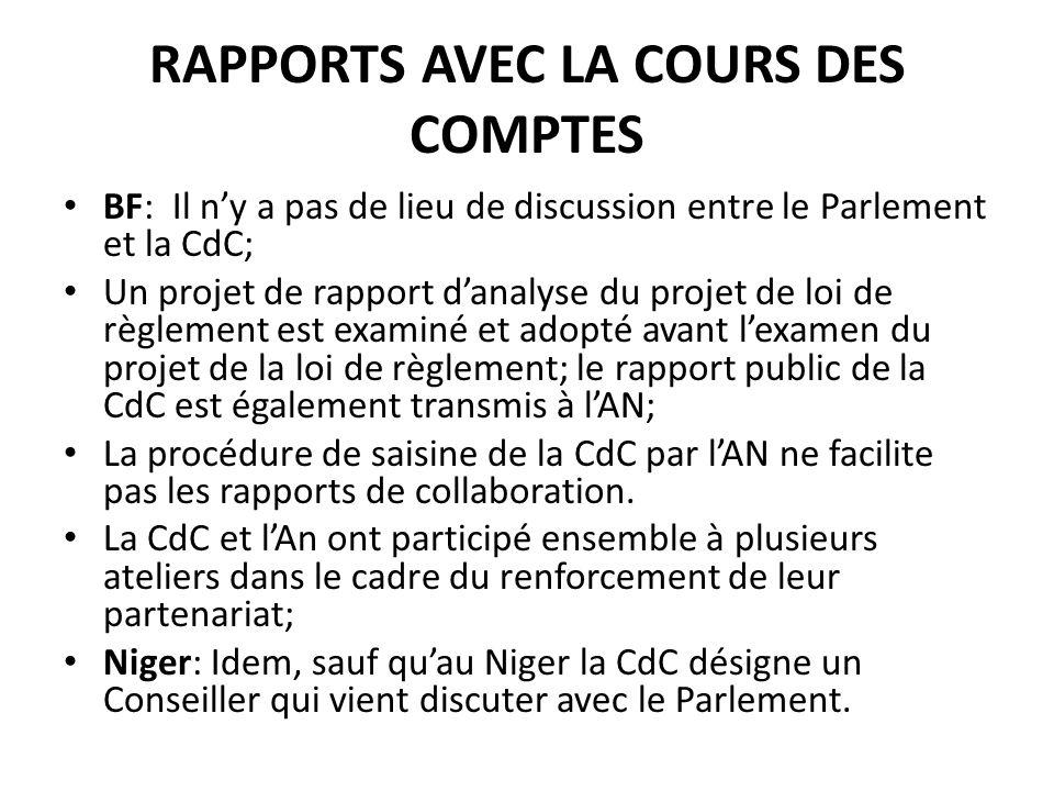 RAPPORTS AVEC LA COURS DES COMPTES