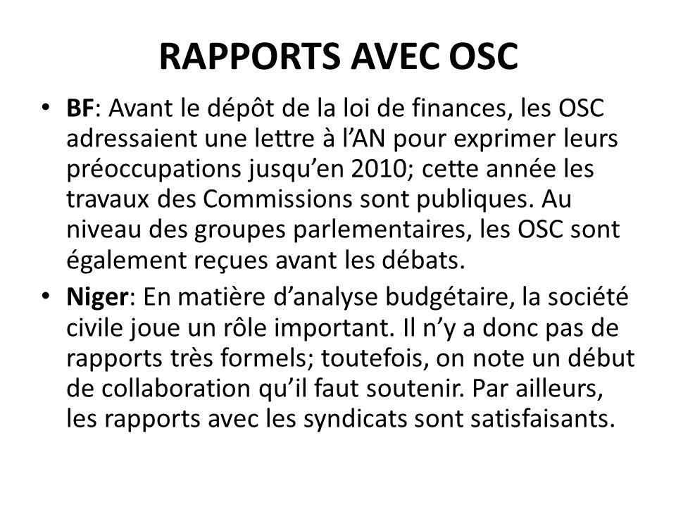 RAPPORTS AVEC OSC