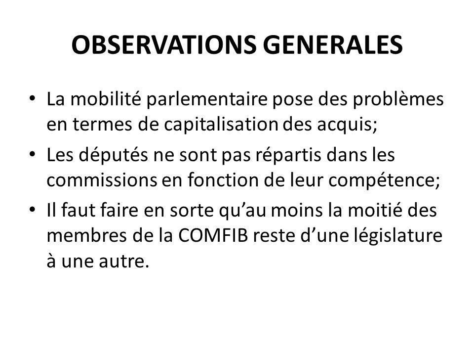 OBSERVATIONS GENERALES