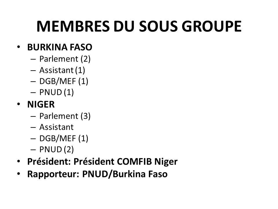 MEMBRES DU SOUS GROUPE BURKINA FASO NIGER