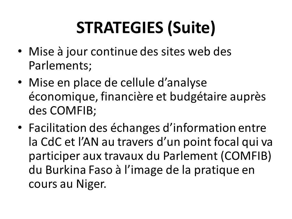 STRATEGIES (Suite) Mise à jour continue des sites web des Parlements;