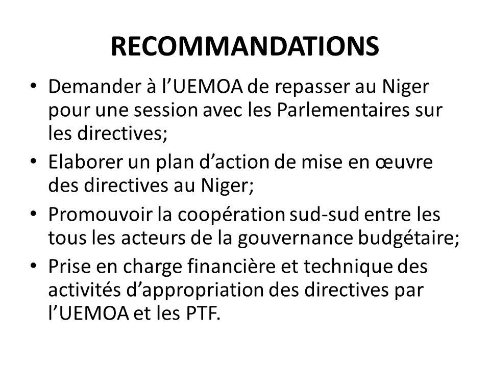 RECOMMANDATIONS Demander à l'UEMOA de repasser au Niger pour une session avec les Parlementaires sur les directives;