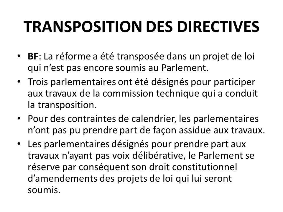 TRANSPOSITION DES DIRECTIVES
