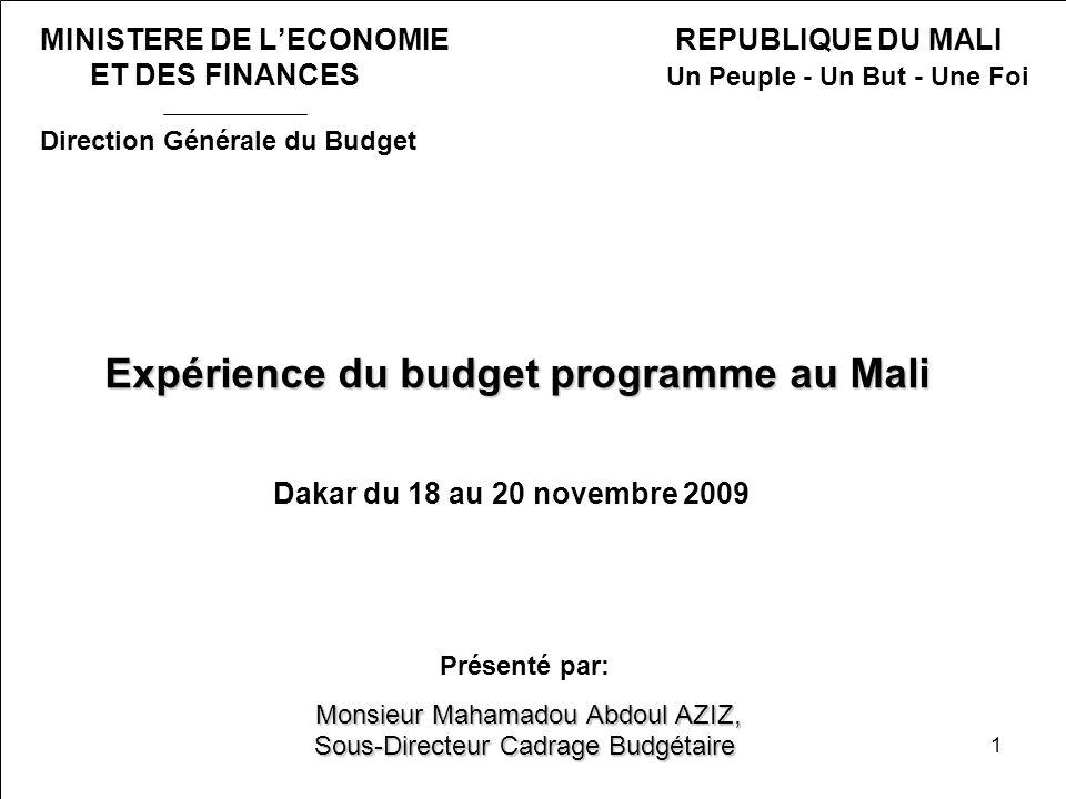 Expérience du budget programme au Mali Dakar du 18 au 20 novembre 2009