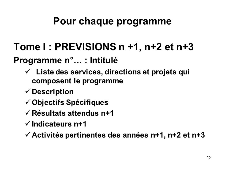 Tome I : PREVISIONS n +1, n+2 et n+3