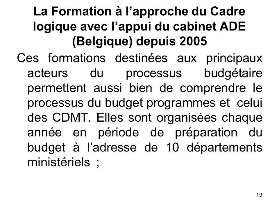 La Formation à l'approche du Cadre logique avec l'appui du cabinet ADE (Belgique) depuis 2005