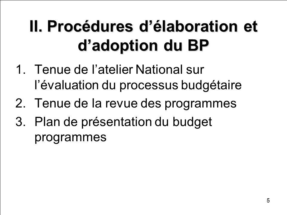 II. Procédures d'élaboration et d'adoption du BP