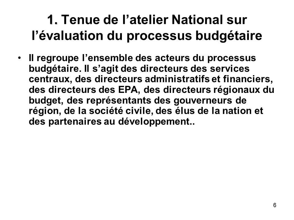 1. Tenue de l'atelier National sur l'évaluation du processus budgétaire