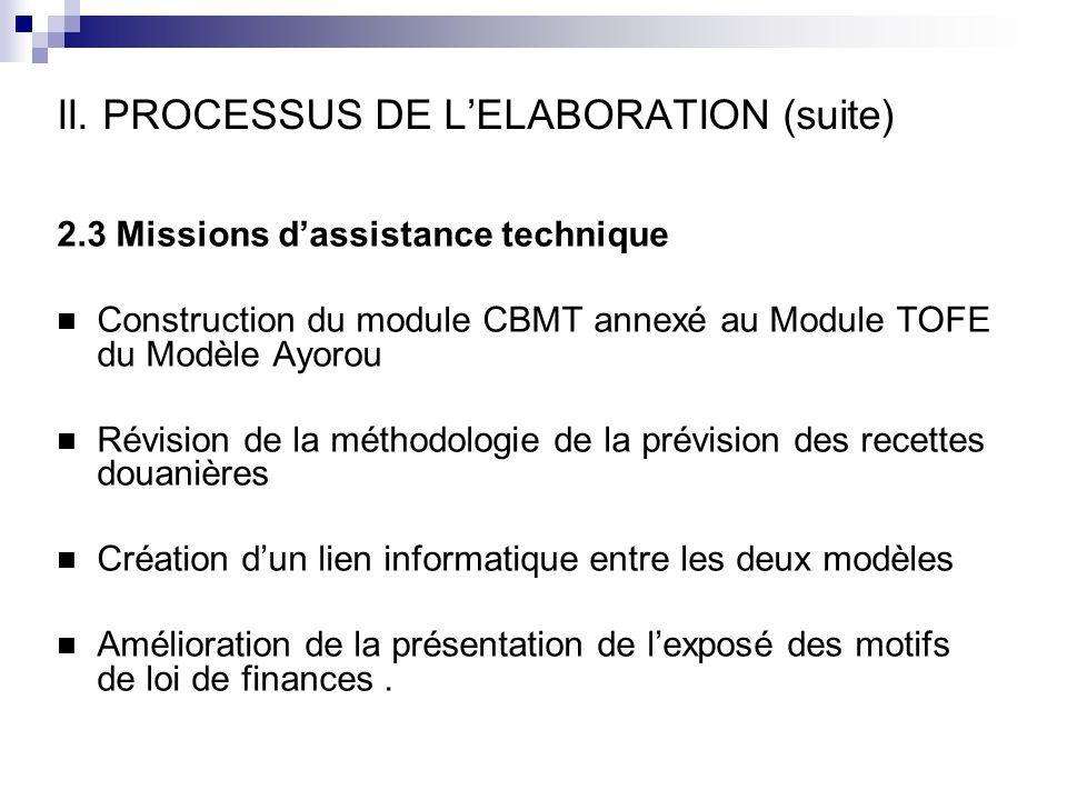 II. PROCESSUS DE L'ELABORATION (suite)