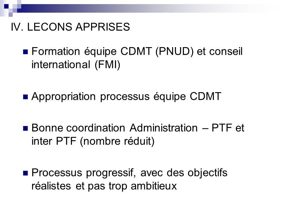 IV. LECONS APPRISES Formation équipe CDMT (PNUD) et conseil international (FMI) Appropriation processus équipe CDMT.