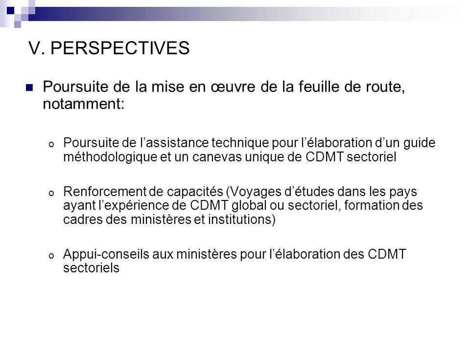 V. PERSPECTIVES Poursuite de la mise en œuvre de la feuille de route, notamment: