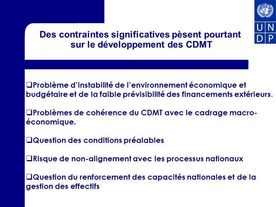 Des contraintes significatives pèsent pourtant sur le développement des CDMT