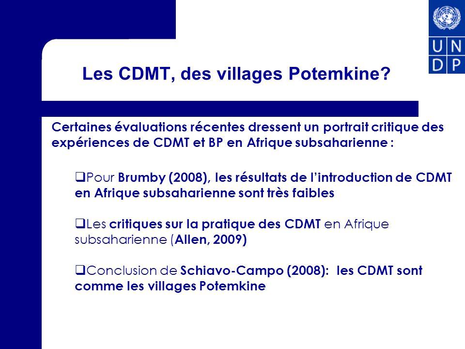 Les CDMT, des villages Potemkine