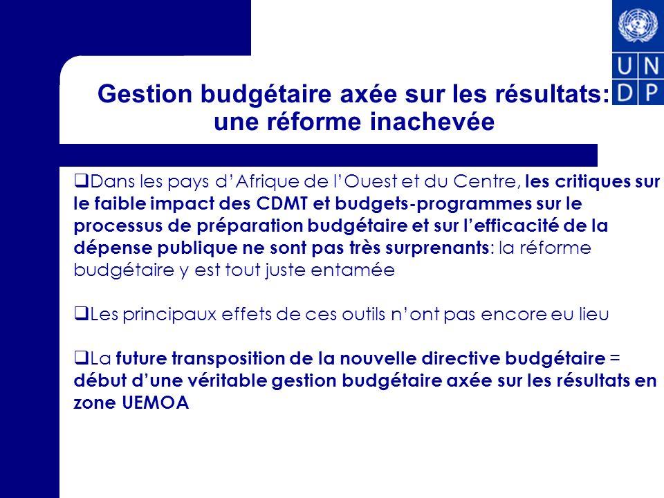 Gestion budgétaire axée sur les résultats: une réforme inachevée